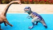 侏罗纪世界 儿童玩恐龙玩具学习恐龙名称 霸王龙三角龙剑龙