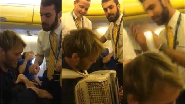"""视频 空乘搞事情?乘客演奏手风琴回应""""爱尔兰式幽默"""""""