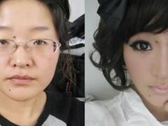 美女化妆前后恐怖对比