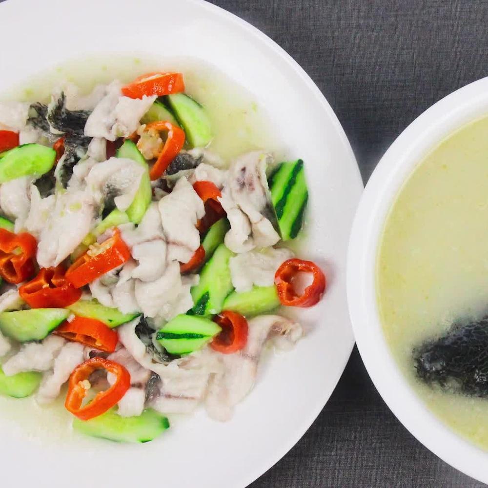 一条黑鱼有菜有汤,厨师长详细讲解步骤,原来做法这么简单