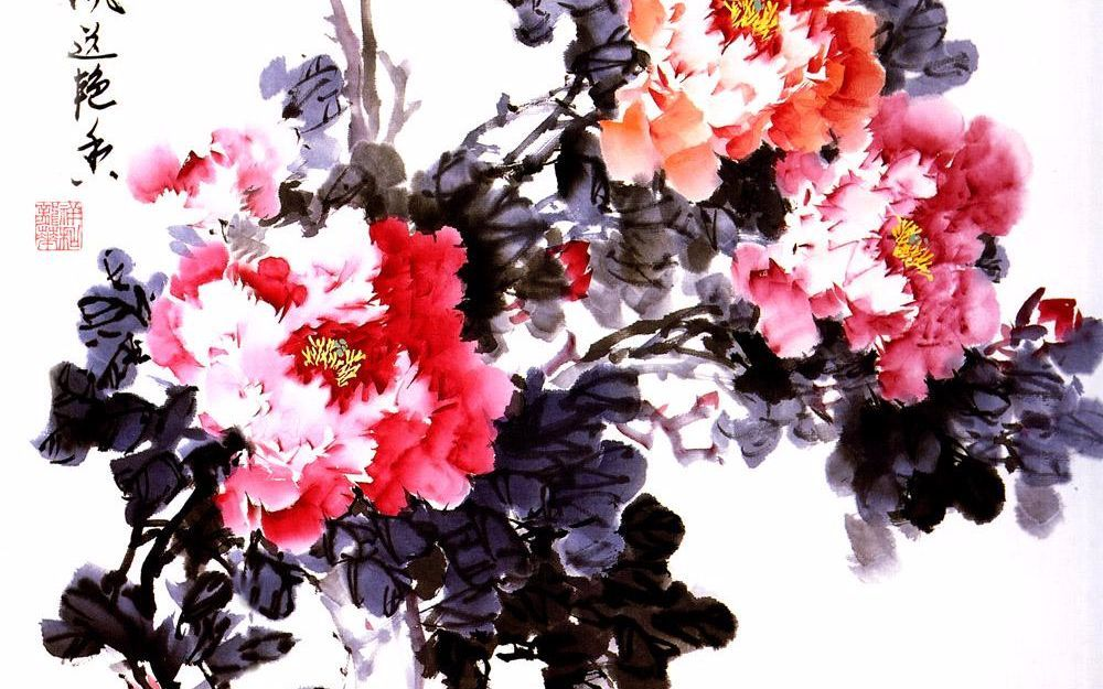 水墨丹青,牡丹绘画过程