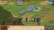 帝国时代2:100个重装骑兵攻城,一路平推过去!