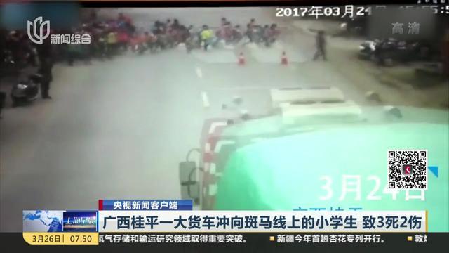 央视新闻客户端:广西桂平一大货车冲向斑马线上的小学生 致3死2伤