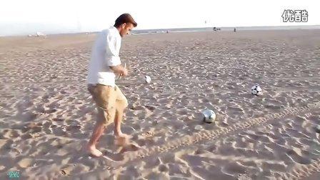 小贝沙滩大秀脚法 神奇3球诠释何为黄金右脚 2011年贝克汉姆百事可乐广告花絮