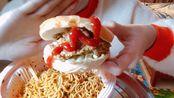 香辣拌面+酱超多的汉堡,吃一口超级满足