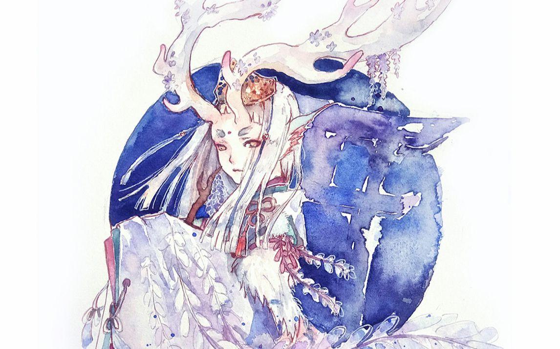 【阴阳师/水彩】来一发仙气逼人的小鹿男·紫苑藤雪
