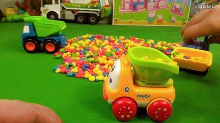 248工程车玩具视频铲车自卸车挖掘机彩色石头迷你Q版工程车小火车