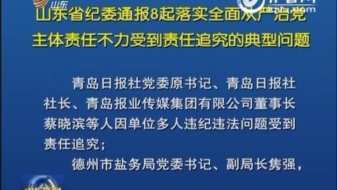 山东省纪委通报8起落实全面从严治党主体责任不力受到责任追究的典型问题