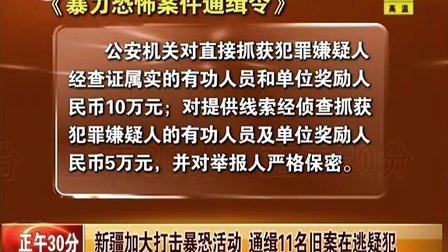 新疆加大打击暴恐活动 通缉11名旧案在逃疑犯[正午30分]