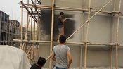 上海三旗真石漆喷涂机安徽地区喷涂外墙真石漆 现场实拍