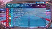 回放:男子200米个人混合泳预赛 汪顺1分59秒18小组第5晋级半决赛