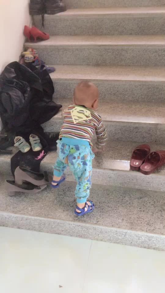 每天就喜欢爬楼梯,得时时跟着