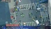 航拍美国波士顿爆炸现场 警方封锁现场