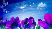 卡通视频 幼儿园 儿童节视频 c89唯美卡通紫色郁金香花朵蝴蝶飞舞61儿童节幼儿园少儿表演晚会舞台演出LED大屏幕背景视频素材 跳舞视频