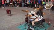 美女街头架子鼓表演《灌篮高手》主题曲!