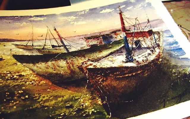 【阿姜水彩】用水彩画夕阳下的船 (你渴望福利吗)