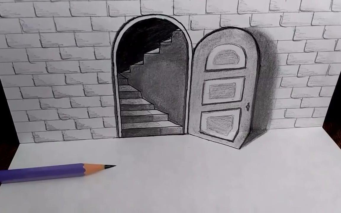 手绘艺术:3D立体门—艺库