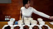 美女密子君挑战大胃王, 吃5份梅菜扣肉和6碗米饭4碗粥
