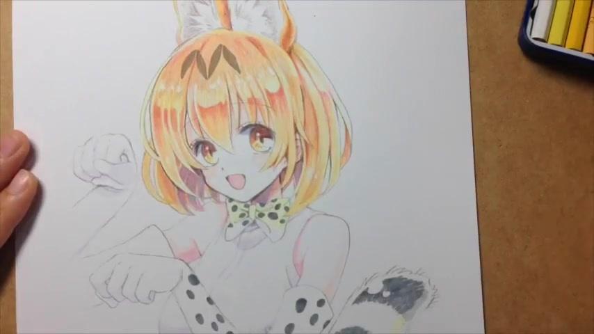 【搬运】【copic】【彩铅】【兽娘动物园】薮猫 作画