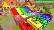 彩池里5种颜色的足球,是要去砸平台上的超跑和皮卡吗