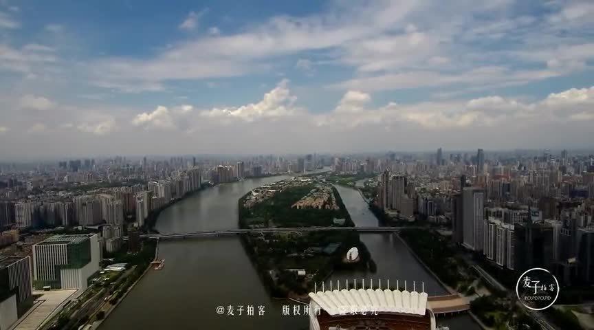 航拍:广州珠江带CBD建筑群 比肩上海北京的三大国中央商务区