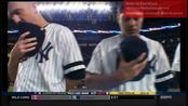 Aaron Tveit singing American's national anthem at the NYY vs MIN, Oct. 3rd