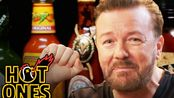 Hot Ones辣翅挑战//Ricky Gervais Pits His Mild British Palate Against Spicy Wings