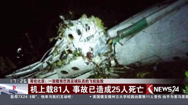 哥伦比亚:一架载有巴西足球队员的飞机坠毁 机上载81人 事故一造成25人死亡