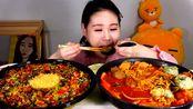 韩国Fran卡妹吃部队酱汤拌饭+拉面饺子午餐肉,饿了!