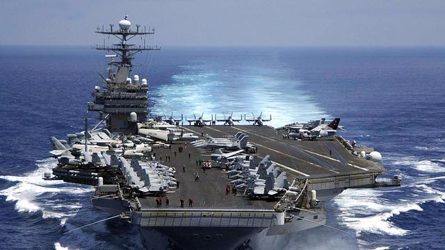 """美航母""""卡尔·文森""""号北上朝鲜遭遇不利 一战机失事"""
