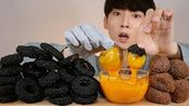 BLACK SQUID RING CHEESE BALLS pura鸡黑干酪球鱿鱼篮吃MUKBANG CRUNCHY EATING SO