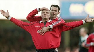 重温经典,99欧冠决赛曼联2比1拜仁大逆转,小贝献致命助攻
